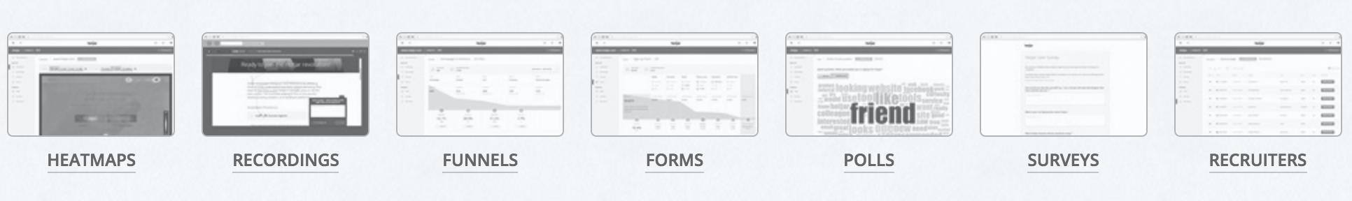 Hot Jar Analytics Screens