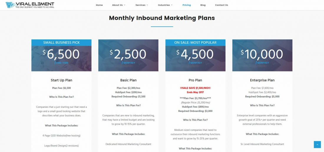 Viral Element Inbound Marketing Pricing Page