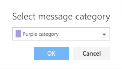 Screen shot showing how to select a message category