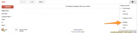 Screen shot showing how to get to gmail settings