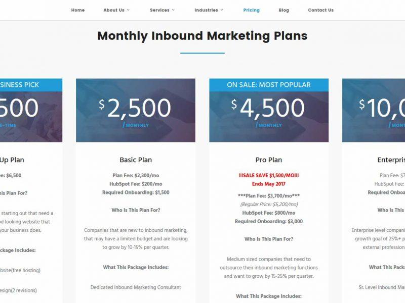 Viral Element Inbound Marketing Pricing Page